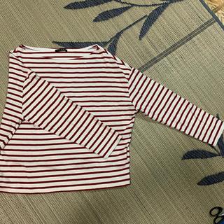 イング(INGNI)のINGNI 赤 ボーダー ワインレッド 丸首 カットソー Tシャツ 綿 M(Tシャツ(長袖/七分))