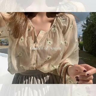 dholic - シースルー 透け 花刺繍ブラウス