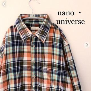 ナノユニバース(nano・universe)のナノユニバース  七分袖 チェックシャツ  Lサイズ nano universe(シャツ)