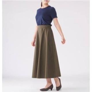 ムジルシリョウヒン(MUJI (無印良品))の美品 無印良品 綿混ダンプイージーフレアースカート カーキ Mサイズ (ロングスカート)