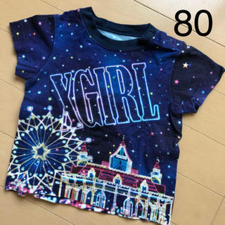 エックスガールステージス(X-girl Stages)のX-girl 遊園地 イルミネーション Tシャツ 80 2T ブルー ロゴ(Tシャツ)