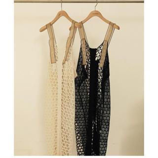 トゥデイフル(TODAYFUL)のtodayful   メッシュニットドレス  38 ホワイト(ロングワンピース/マキシワンピース)