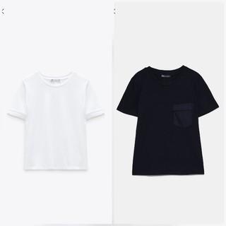 ザラ(ZARA)の新品美品完売ZARAザラ半袖Tシャツ2枚セットSM白黒(Tシャツ(半袖/袖なし))