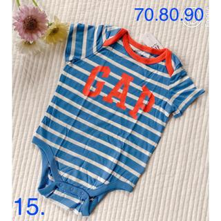 ベビーギャップ(babyGAP)の新品♡gap ロゴつきボーダーロンパース(ロンパース)
