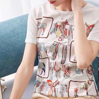 フォクシー(FOXEY)のスカーフ地の異色素材ストレッチTシャツ mおすすめ(Tシャツ(半袖/袖なし))