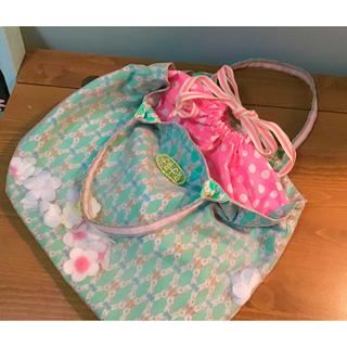 フェフェ(fafa)のfafa フェフェ 可愛い 巾着 バッグ エメラルドグリーン ピンク(トートバッグ)