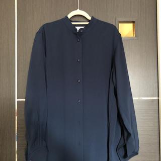マウジー(moussy)のmoussy 紺ロングシャツワンピ ノーカラー(Tシャツ(長袖/七分))