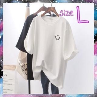 niko and... - 【スマイル】大人気 ワンポイントTシャツ 半袖 白 ホワイト Lサイズ