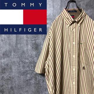 TOMMY HILFIGER - 【激レア】トミーヒルフィガー☆オールド刺繍ロゴ半袖レトロストライプシャツ 90s