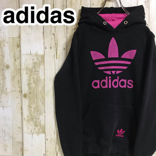 adidas - アディダスオリジナルス プルオーバーパーカー L ブラック ビッグロゴ 刺繍ロゴ