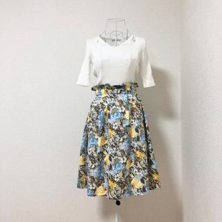 クチュールブローチ(Couture Brooch)のCouture Brooch 花柄 ウエストデザイン スカート S(ひざ丈スカート)