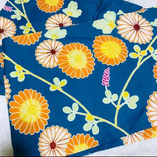 伊勢形紙 浴衣 ゆかた 花柄 ブルー オレンジ(浴衣)