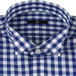 スーツカンパニー(THE SUIT COMPANY)のウイングカラードレスワイシャツ/ブルー&ホワイト×チェック(ゴムカフス付)(シャツ)