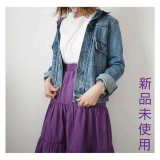 カワイイ(cawaii)のティアードスカートロングスカートパープルコットン紫スカートcawaii系スカート(ロングスカート)