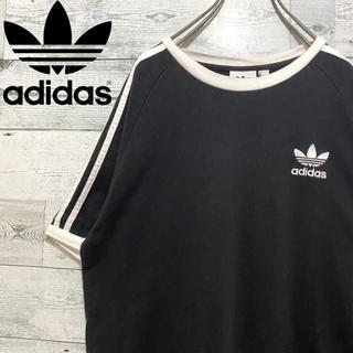 adidas - 【人気】アディダスオリジナルス☆刺繍ロゴ サイドライン ブラック 半袖Tシャツ