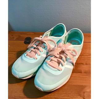 adidas - アディダス  エメラルドグリーン ピンク 花柄 可愛い スニーカー 24.5cm