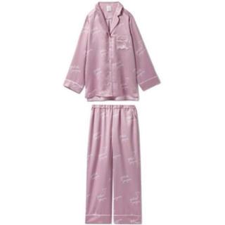 gelato pique - gelato pique ハートロゴサテンシャツ&ロングパンツセット ピンク新品