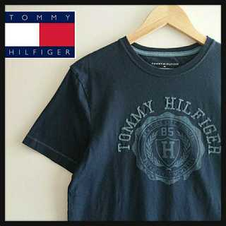 TOMMY HILFIGER - 964 トミーヒルフィガー デカロゴ 編みロゴ Tシャツ ネイビー M