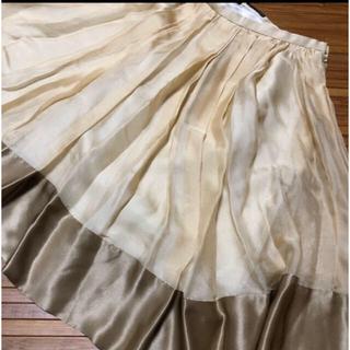 ダブルスタンダードクロージング(DOUBLE STANDARD CLOTHING)のシャンパンベージュ 膝丈フレアスカート 38(ひざ丈スカート)