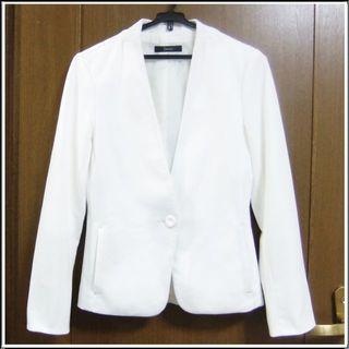 23区 - 323 白 ホワイト ウォッシャブル 洗濯できる ポケット ジャケット 0726