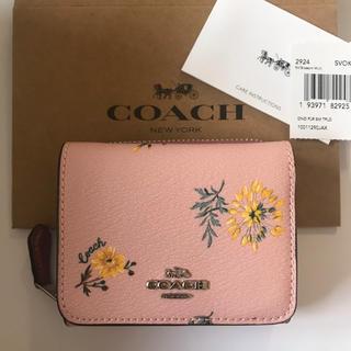 COACH - 新品!コーチ coach 三つ折り財布 ピンク フラワー 財布