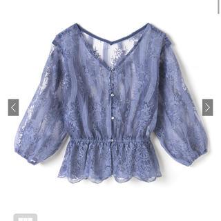 GRL - フラワー刺繍オーガンジーブラウス ブルー