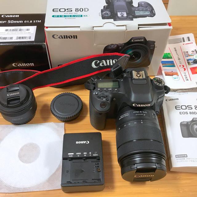 Canon(キヤノン)のCanon EOS 80D 18-135  単焦点 50 F1.8 レンズセット スマホ/家電/カメラのカメラ(デジタル一眼)の商品写真