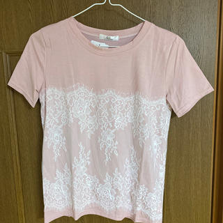 レースデザインTシャツ ピンク(Tシャツ(半袖/袖なし))