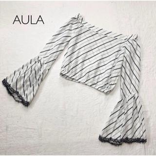 【新品タグ付き!】AURA オフショルキャンディスリーブ袖 丈短カットソー!