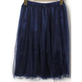 アーバンリサーチ(URBAN RESEARCH)の美品 アーバンリサーチ シフォンフレアスカート ネイビー(ひざ丈スカート)
