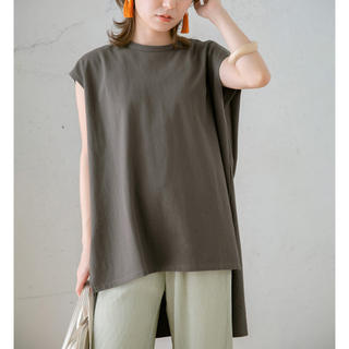 BIGノースリーブTシャツ/チャコール/新品