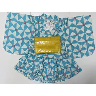 フタフタ(futafuta)の新品タグ付き futafuta ゆかたドレス 水色×白(甚平/浴衣)