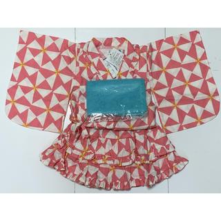 フタフタ(futafuta)の新品タグ付き futafuta ゆかたドレス ピンク×白(甚平/浴衣)