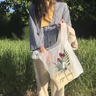 TODAYFUL - 薔薇刺繍 エコバック ハンドバッグ