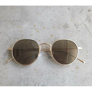 【未使用】ボストン型 サングラス アンティーク ゴールド✕ライトブラウン 丸眼鏡