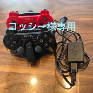 プレイステーション(PlayStation)のPS3 コントローラー 赤×黒 充電器付き(その他)