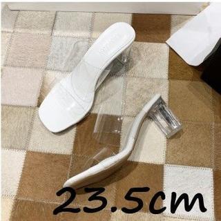 ホワイトクリアサンダル6cmヒール 36 23.5cm