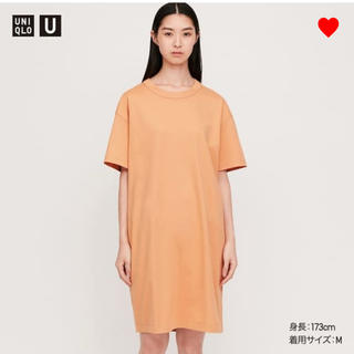 UNIQLO - UNIQLOu クルーネックTワンピース S オレンジ