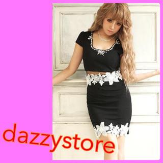 dazzy store - dazzy store ウエストシースルーフラワーレースタイトミニドレス