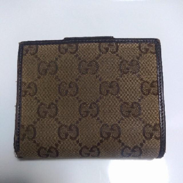 Gucci(グッチ)のグッチ 二つ折り財布 キャンバス レザー 茶色 ブラウン レディース メンズ レディースのファッション小物(財布)の商品写真