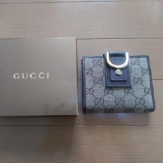 Gucci - グッチ 二つ折り財布 キャンバス レザー 茶色 ブラウン レディース メンズ