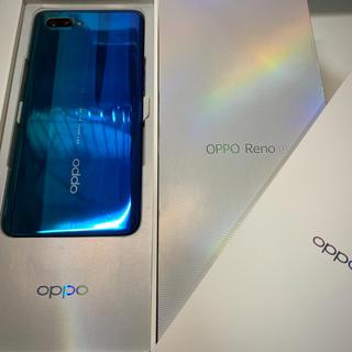 ラクテン(Rakuten)の【美品】楽天モバイル版 oppo Reno A ブルー 128GB SIMフリー(スマートフォン本体)