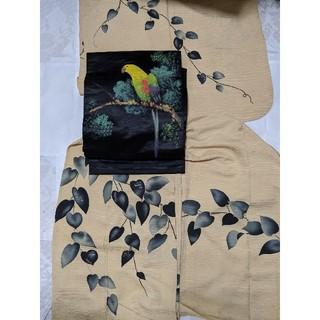 お着物のみの出品 葉柄 アンティーク 正絹