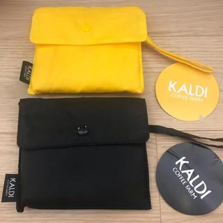 カルディ(KALDI)のKALDI カルディオリジナル  エコバッグ ブラック イエロー 2点(エコバッグ)