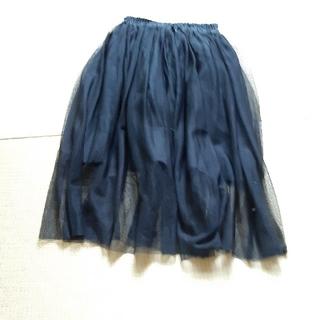 ジーユー(GU)の女の子 130サイズ チュールスカート ロングスカート 黒(スカート)