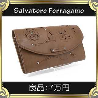 Salvatore Ferragamo - 【真贋査定済・送料無料】フェラガモの長財布・良品・本物・本革・希少・花柄模様