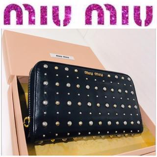 miumiu - 箱つき■本革■大丸購入■ミュウミュウ 長財布 黒×ゴールド×シルバー スタッズ