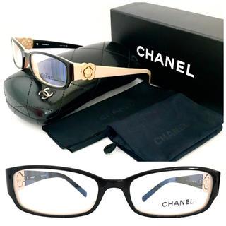 シャネル(CHANEL)のシャネル カメリア 眼鏡 ベージュ×黒 3131 廃盤 バイカラー 人気☆メガネ(サングラス/メガネ)