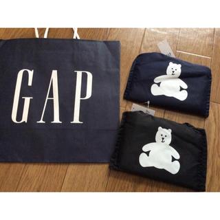 GAP - 新品未使用GAPロゴ入りギャップ折りたたみエコバッグベアー黒ブラック&紺ネイビー