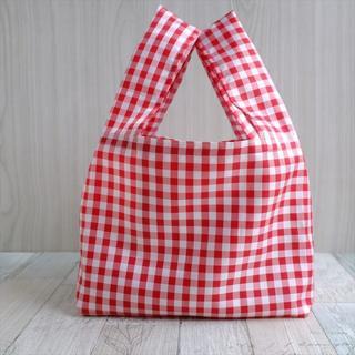 コンビニで使える小さめレジ袋型エコバッグ・赤チェックローズタグ(バッグ)